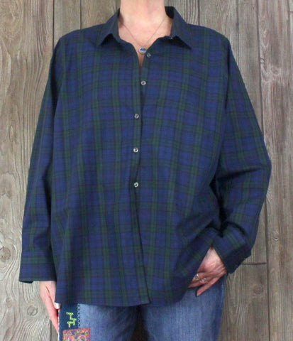 Nice Lands End 26w 3x size Blouse Blue Green Plaid Top Womens No Iron Plus Shirt