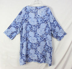 Nice Lands End Blouse 2x 20w 22w Blue Floral Lightweight Tunic Top