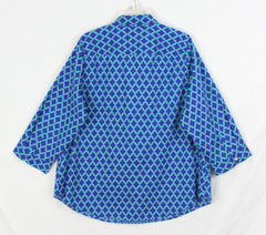 Nice Lands End Blouse 20w 2x size Blue Teal Lightweight
