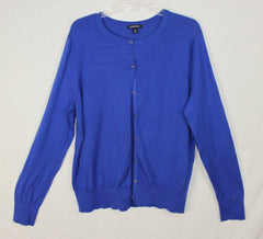 Nice Lands End Cardigan Sweater L 14 16 size Blue Soft Womens Work Casual