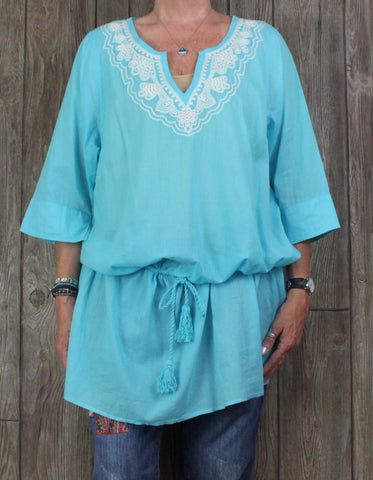 Nice Lands End 1x 16w 18w Tunic Top Blue Lightweight Beach Vacation Top