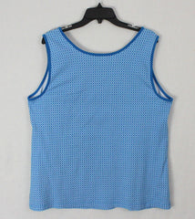 Nice Lands End Tank Top 1x size Womens Blue White Stretch