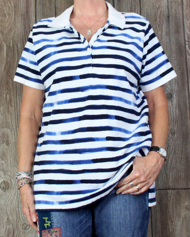 Lands End 1x 16w 18w size Blouse Blue White Casual Polo Style Top