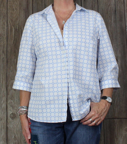 Nice Lands End 14w size Blouse White Blue No Iron Womens