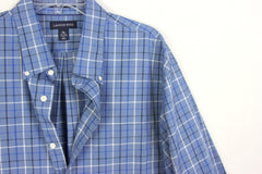 Lands End XL 17 17.5 size Blue Plaid Button Down Career Casual Shirt Traditional Fit