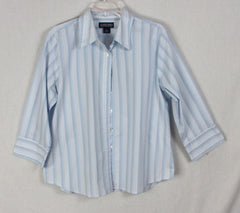 Lands End Blouse 16 XL sz Light Blue White Stripe Womens Cotton Blend