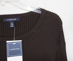 New Lands End XL 18 20 size Ribbed Sweater Spice Brown Cotton Blend