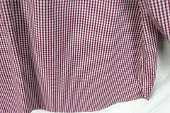 Nice Lands End Blouse 20w 2x size Burgundy Check No Iron Cotton