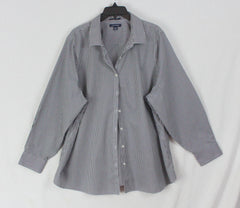 Nice Lands End Blouse Black White Check 24w 3x size Womens Top No Iron Plus