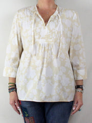 Summer Comfort With This Lightweight Loose Fitting  Lands End L 14 16 Tunic Top Beige White Floral Pintuck Pleat Cotton - Jamies Closet - 2