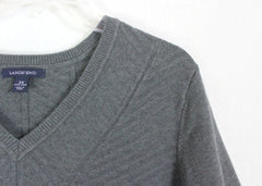 Lands End Sweater 3x 24w 26w size Gray Textured Vneck