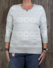 Lands End L 14 16 Sweater Gray White Snowflake Cotton Womens 3.4 Sleeve Supima Top