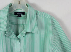 Lands End Blouse 18 XL size Green White Stripe No Ion Pinpoint Oxford - Jamies Closet - 4