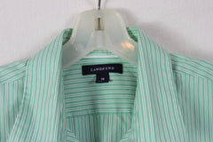 Lands End Blouse 18 XL size Green White Stripe No Ion Pinpoint Oxford - Jamies Closet - 5