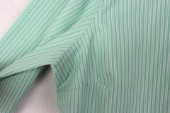 Lands End Blouse 18 XL size Green White Stripe No Ion Pinpoint Oxford - Jamies Closet - 7