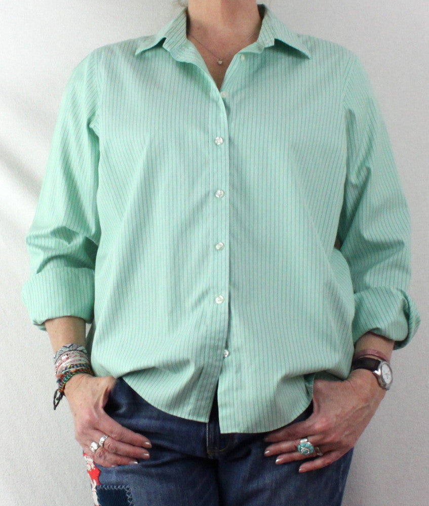 Lands End Blouse 18 XL size Green White Stripe No Ion Pinpoint Oxford - Jamies Closet - 1