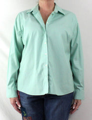 Lands End Blouse 18 XL size Green White Stripe No Ion Pinpoint Oxford - Jamies Closet - 2