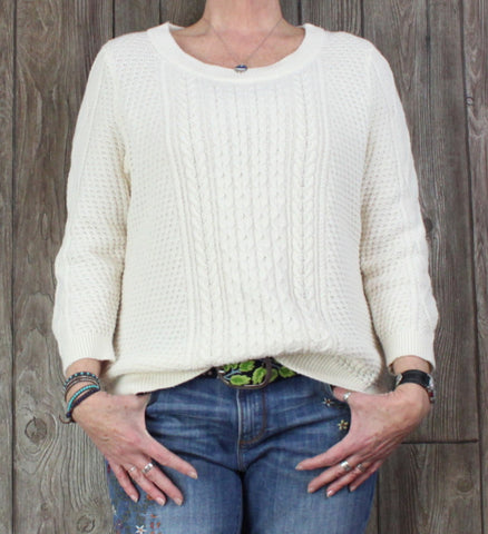 Nice Lands End XL 18 Size Ivory Cable Sweater Womens Casual Cotton Blend