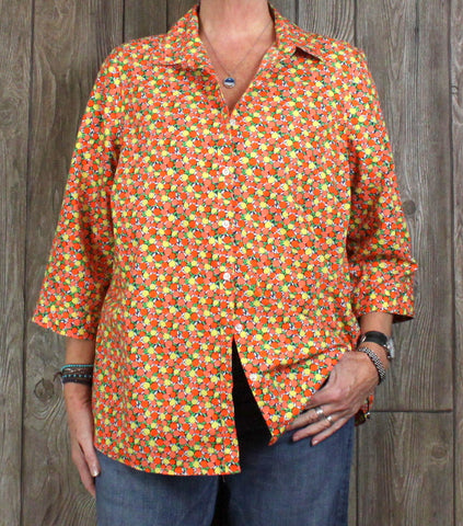 Cute Lands End 18w Blouse Orange Yellew Oranges Lemons No Iron Supima