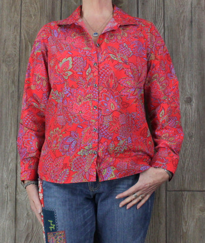 Pretty Lands End 14 L size Blouse Pink Orange Multi Color Top Womens No Iron Cotton