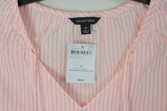 Lands End 12 L size Tank Top New Pink White Stripe Lightweight Cotton