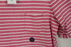Cute New Lands End M 10 12 size Top Pink White Jaquard Womens Cotton Shirt