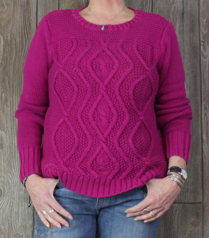Nice Lands End Drifter Cable Sweater L 14 size Womens Magenta Pink Cotton Casual Crew