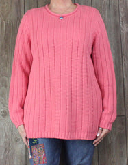 Nice New Lands End Ribbed Sweater 1x 16w 18w Pink Linen Blend