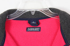 Lands End XL 18 20 size Fleece Jacket Red 1.4 zip Pockets Womens All Season