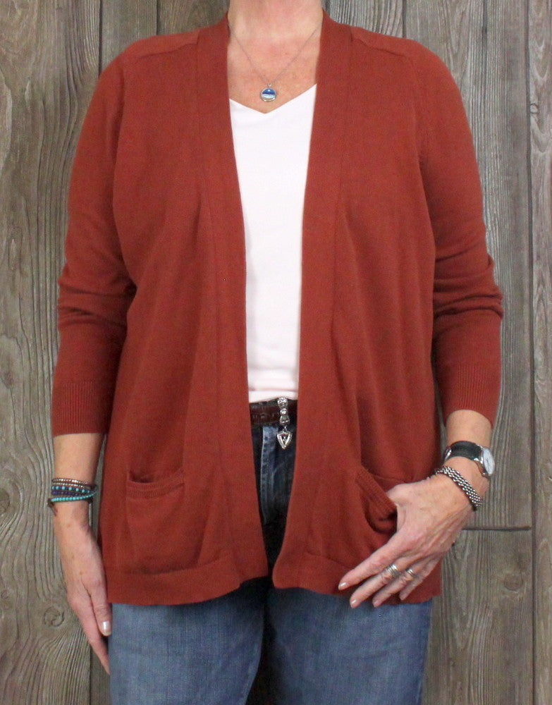Nice Lands End L Petite LP 14 16 size Cardigan Sweater Rust Brown Womens Soft Cotton