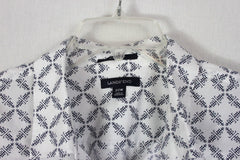 Nice Lands End 22w 2x size Blouse Blue White LE Womens No Iron
