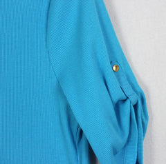 Pretty Blue Lauren Ralph Lauren New Top L Petite size Vneck with Snap Accent - Jamies Closet - 4