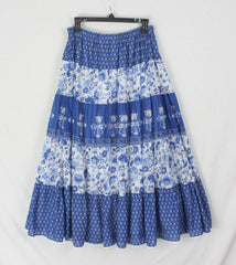 Lauren Ralph Lauren XL 1x 2x Sz Skirt Blue White Tiered Prairie Womens Plus Casual