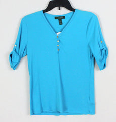 Pretty Blue Lauren Ralph Lauren New Top L Petite size Vneck with Snap Accent - Jamies Closet - 3