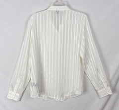 Nice Lauren Ralph Lauren Blouse 2x size Ivory Blue Embroidered Career Or Casual