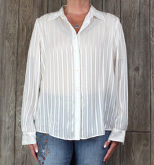 Nice Lauren Ralph Lauren Blouse XL size Ivory Metallic Shear Work To Evening Top