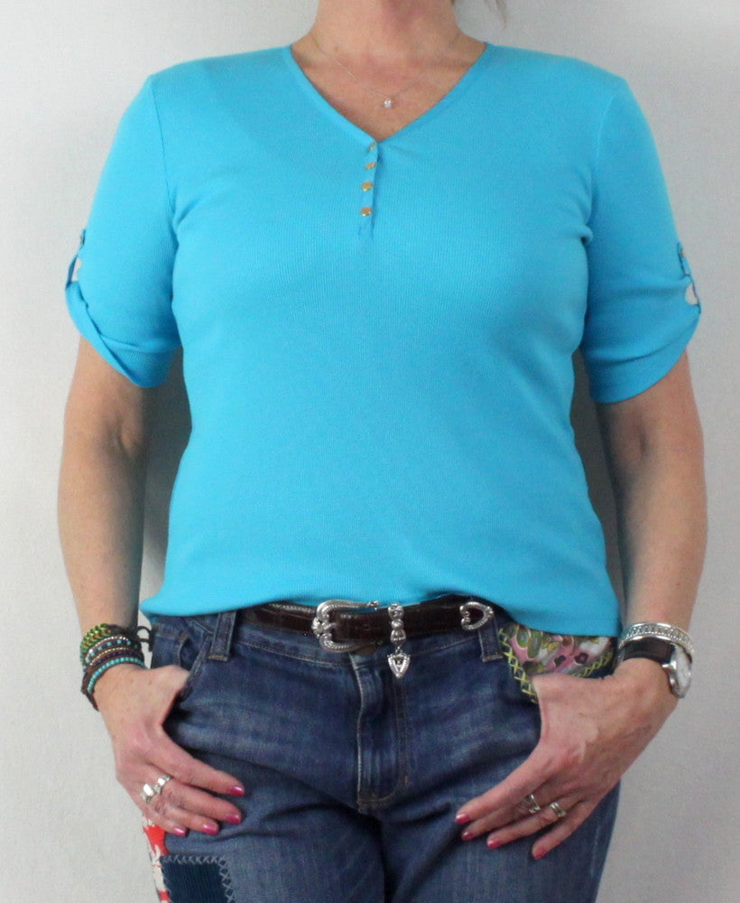 Pretty Blue Lauren Ralph Lauren New Top L Petite size Vneck with Snap Accent - Jamies Closet - 1
