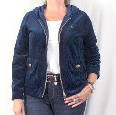 Lauren Ralph Lauren Jacket L size Womens Blue Velour Zip Hooded Gold Accents - Jamies Closet - 1