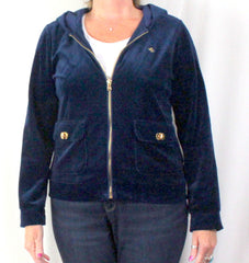 Lauren Ralph Lauren Jacket L size Womens Blue Velour Zip Hooded Gold Accents - Jamies Closet - 2