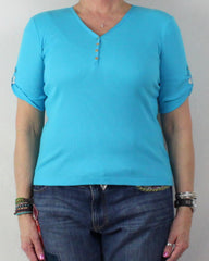 Pretty Blue Lauren Ralph Lauren New Top L Petite size Vneck with Snap Accent - Jamies Closet - 2
