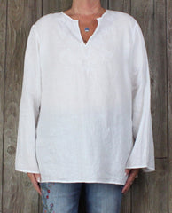 Cute Lauren Ralph Lauren Blouse XL sz White Embroidered Linen