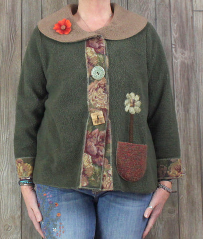 Adorable Lee Anderson Cardigan Sweater Green Brown Artsy