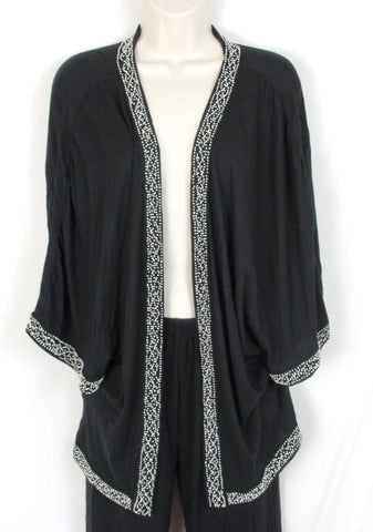 Anthropologie Leifnotes S size Black Open Front Beaded Creamy Shirt Jacket - Jamies Closet - 1