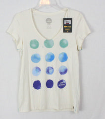 Cute Life is good M size top New Ivory Blue Watercolor Dots Casual Cotton Tee Shirt