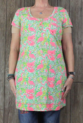 Cute Lilly Pulitzer XL size Tunic Top Pink Green Flamingos