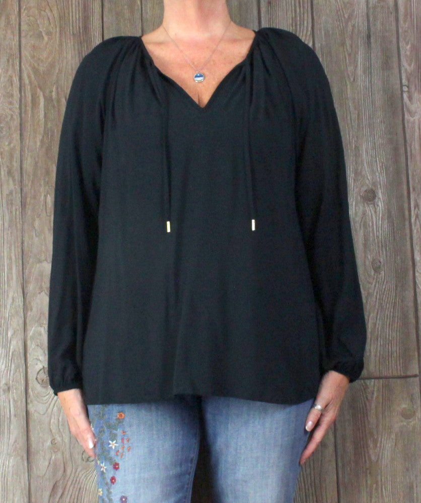 Lilly Pulitzer Blouse L size Black Romantic Poet Top Lightweight