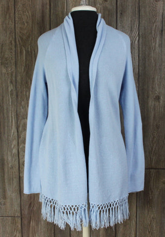 New Lilly Pultizer Cardigan Sweater L size Light Blue Fringe Open Front
