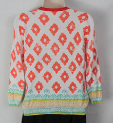 Cute Unbranded Cardigan Sweater Top M size White Orange Blue Hippy Boho Lightweight - Jamies Closet - 6