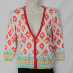 Cute Unbranded Cardigan Sweater Top M size White Orange Blue Hippy Boho Lightweight - Jamies Closet - 3