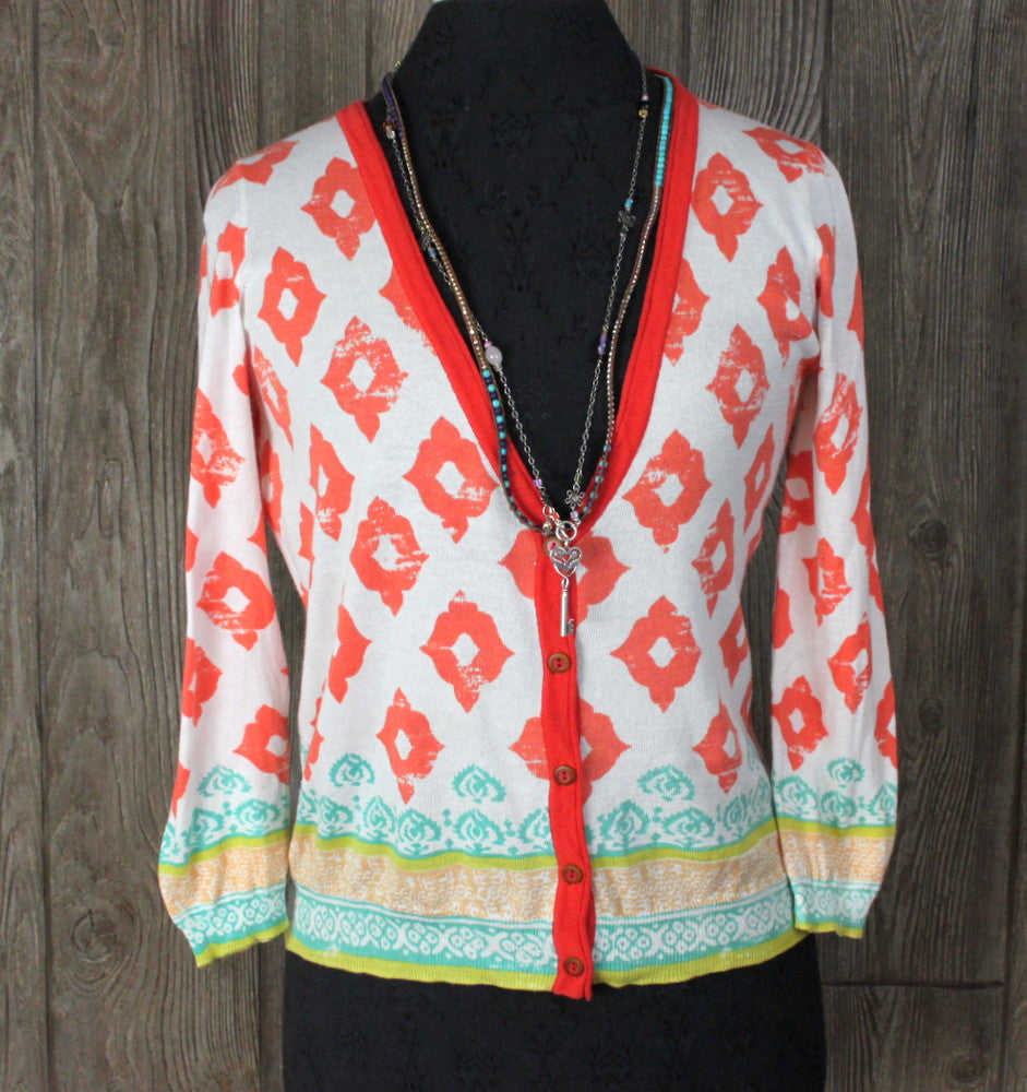 Cute Unbranded Cardigan Sweater Top M size White Orange Blue Hippy Boho Lightweight - Jamies Closet - 1